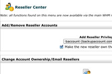 Backup Reseller EndUser Control Panel